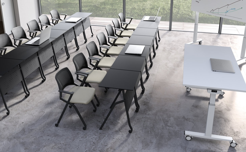 Sedia con ribaltina per formazione oplà