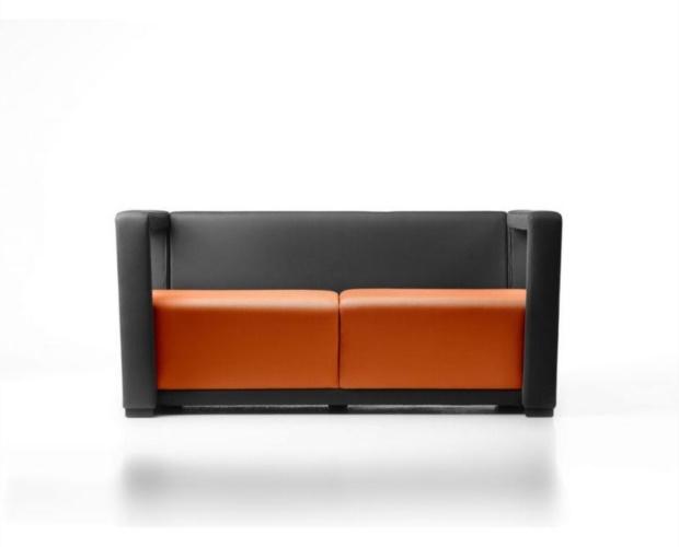 divanetto a due posti mercurio m2 per hall dì'albergo e locali_arancio